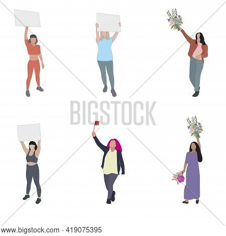 Women Protester Set Isolated, Woman And Girl With Placard. Vector Women Political Rights, Collection