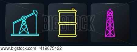 Set Line Oil Pump Or Pump Jack, Oil Rig With Fire And Barrel Oil. Black Square Button. Vector