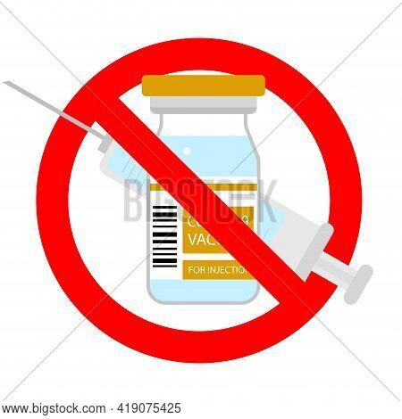 Against Vaccination Banner, Vector Warning Immunization Syringe Ban, Mark Alert Forbid Injection Ill