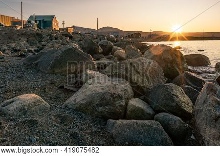 Golden Hour In Inuit Community Of Qikiqtarjuaq, Broughton Island, Nunavut, Canada. Big Boulders With