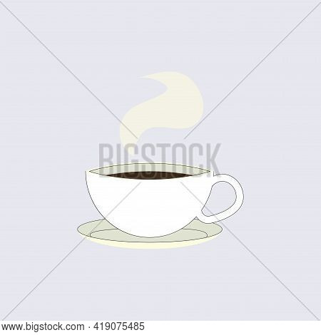 Cup Of Black Coffee Isolated, Emblem For Cafe. Coffee Of Cup, Espresso Caffeine, Strong Logotype Ill