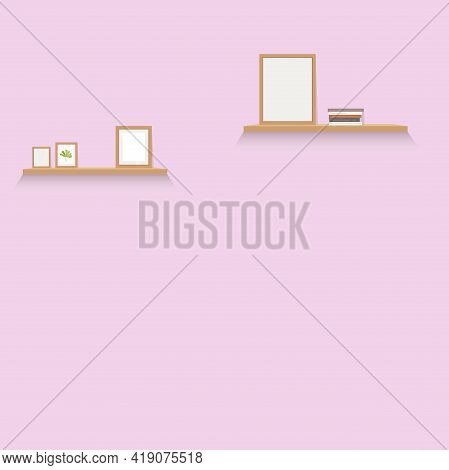 Template Interior Wall With Shelf And Pictures. Blank Page, Gallery Modern With Empty Palce For Text