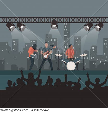 Rock Concert Festival, Popular Band On Stage, Cartoon Fans And Spectators Listen To Music, Entertain