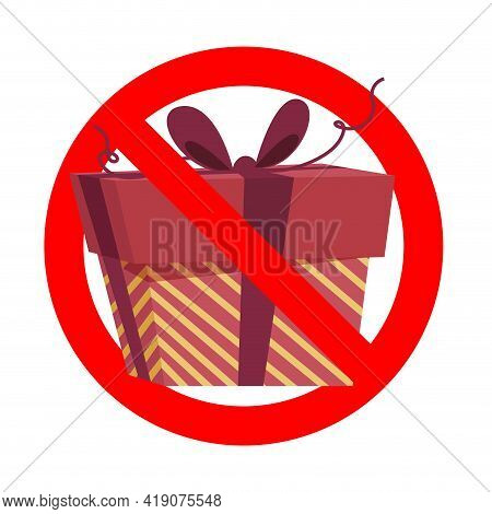 Prohibit Icon, No Gift And Surprise, Prohibitory Symbol, No Package, Prohibition Giving Gift Box, Em