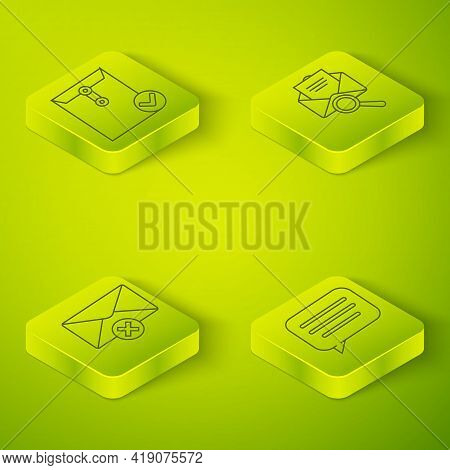 Set Isometric Envelope With Magnifying Glass, Delete Envelope, Speech Bubble Chat And Envelope And C