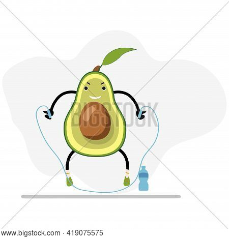 Avocado Jump With Skipping Rope, Healthy And Useful. Avocado Cartoon, Sport Workout, Healthy Organic