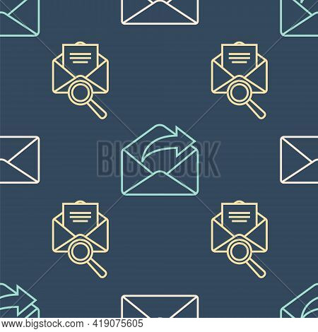 Set Line Envelope, Envelope With Magnifying Glass And Outgoing Mail On Seamless Pattern. Vector