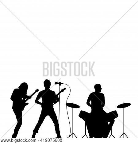 Rock Band Drummer, Singer And Guitarist Black Silhouette, Rock Wallpaper. Rock Concert, Musical Perf