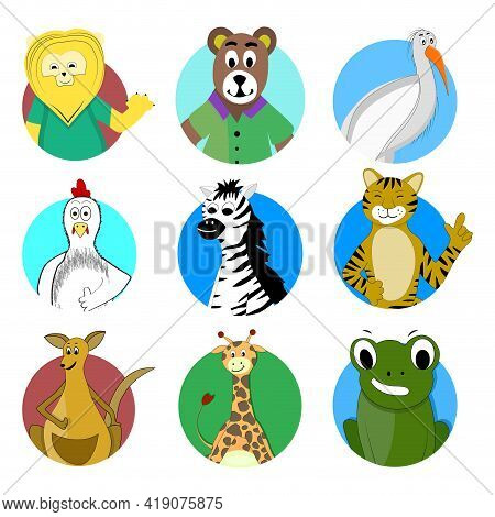 Cartoon Avatar Animal Kangaroo Lion And Giraffe Mascot, Creature Happy Avatar To Game, Totem Muzzle,