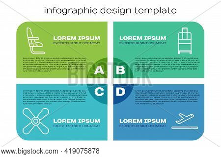 Set Line Plane Propeller, Airplane Seat, Plane Takeoff And Suitcase. Business Infographic Template.