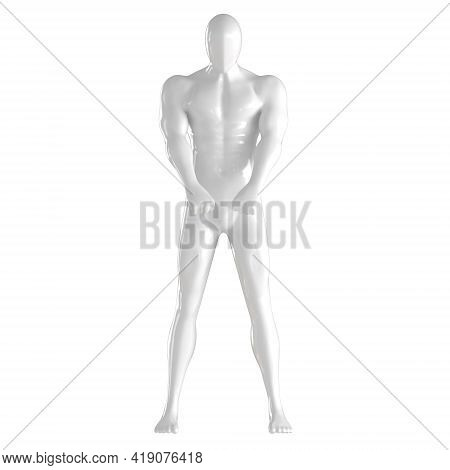 White Male Faceless Mannequin Stands Holding Hands In Claps In Front Of Him On An Isolated Backgroun