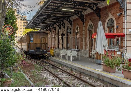 Palma De Mallorca, Spain; April 23 2021: Soller Train Station Located In The Historic Center Of Palm