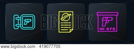 Set Line Hunting Shop Weapon, Military Ammunition Box And Firearms License Certificate. Black Square