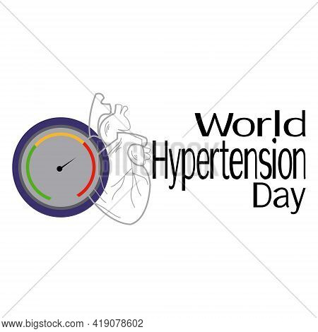 World Hypertension Day, Schematic Image Of Heart And Measuring Device, Concept For Poster Or Banner