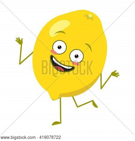 Cute Lemon Characters Cheerful With Emotions Dancing, Face, Arms And Legs. Spring Or Summer Decorati