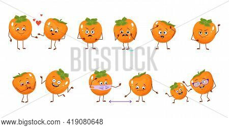 Set Of Cute Persimmon Characters With Emotions, Faces, Arms And Legs. Happy Or Sad Heroes, Exotic Fr