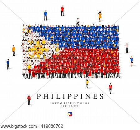 A Large Group Of People Stands In Blue, White, Red And Yellow Robes, Symbolizing The Flag Of The Phi