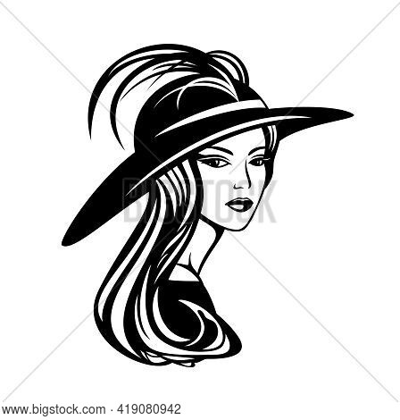 Elegant Woman With Long Gorgeous Hair Wearing Wide Brimmed Hat With Feather Decor - Glamour And Beau