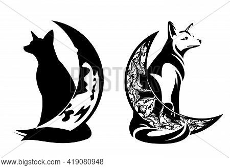 Sitting Fox And Crescent Moon - Magic Nature And Good Night Concept Black And White Vector Design Se