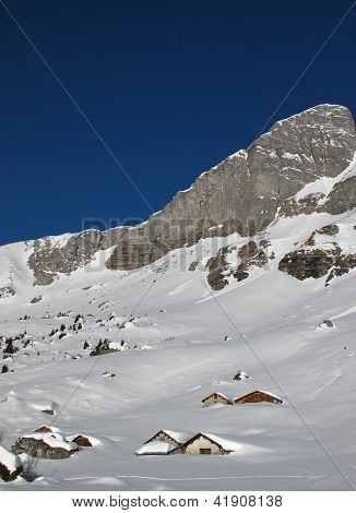 Mountain And Huts