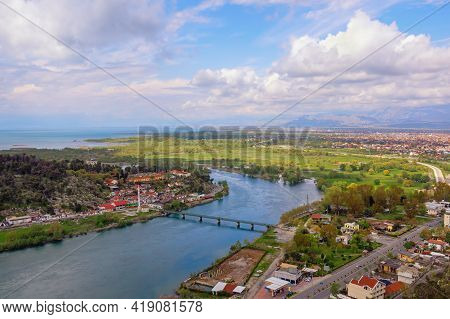 Albania. Beautiful  View Of Lake Skadar, Bojana (buna) River And Shkoder City