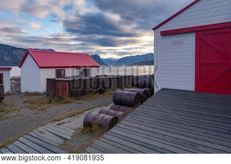 Pangnirtung, Canada - 09.03.2019: Hudson's Bay Company Old Blubber Station In Remote Inuit Community