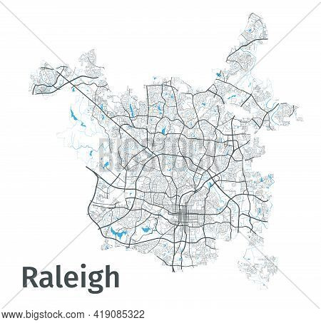 Raleigh Map. Detailed Map Of Raleigh City Administrative Area. Cityscape Panorama. Royalty Free Vect