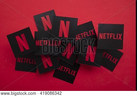 London, Uk - April 2021: Netflix On Demand Tv And Movie Steaming Service Logo