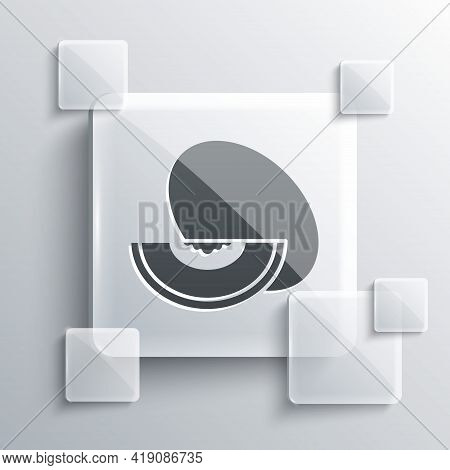 Grey Melon Fruit Icon Isolated On Grey Background. Square Glass Panels. Vector