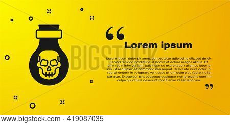 Black Poison In Bottle Icon Isolated On Yellow Background. Bottle Of Poison Or Poisonous Chemical To