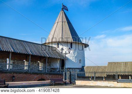 Southwest Tower Of Kazan Kremlin As It Looks Inside Kazan Kremlin. It's Included In Unesco List As A