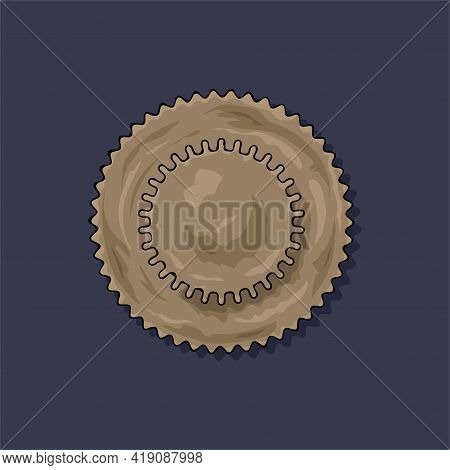 Gear. Vector Illustration. The Colored Round Jagged Element Of The Mechanism. Isolated Detail. Steam