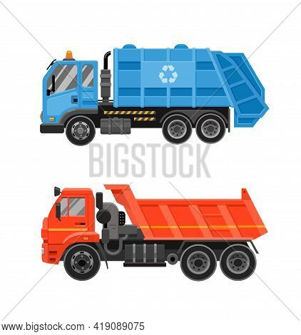 Blue Garbage Truck With Front Loader And Orange Dump Truck. Set. Special Transport, Flat Side View.