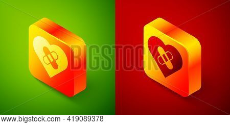 Isometric Healed Broken Heart Or Divorce Icon Isolated On Green And Red Background. Shattered And Pa
