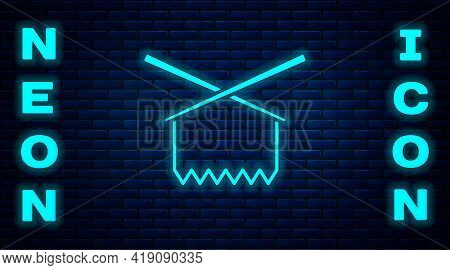 Glowing Neon Knitting Needles Icon Isolated On Brick Wall Background. Label For Hand Made, Knitting