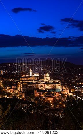 Hungary, Budapest At Night View From Gellert Mountain To The Buda Fortress, Night City