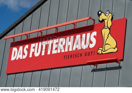 Magdeburg, Germany - April 25, 2021: Advertising Sign Of A Branch Of The Pet Food And Pet Supplies S