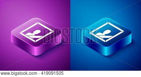 Isometric Mourning Photo Frame With Black Ribbon Icon Isolated On Blue And Purple Background. Funera
