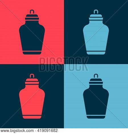 Pop Art Funeral Urn Icon Isolated On Color Background. Cremation And Burial Containers, Columbarium