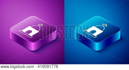 Isometric Old Crypt Icon Isolated On Blue And Purple Background. Cemetery Symbol. Ossuary Or Crypt F