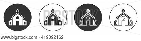 Black Church Building Icon Isolated On White Background. Christian Church. Religion Of Church. Circl