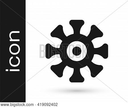 Black Bacteria Icon Isolated On White Background. Bacteria And Germs, Microorganism Disease Causing,