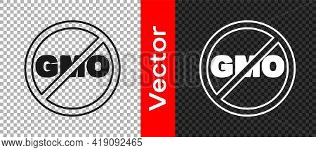 Black No Gmo Icon Isolated On Transparent Background. Genetically Modified Organism Acronym. Dna Foo