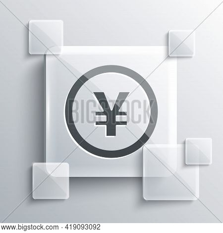 Grey Chinese Yuan Currency Symbol Icon Isolated On Grey Background. Coin Money. Banking Currency Sig