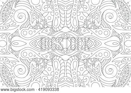 Beautiful Monochrome Linear Background For Adult Coloring Book With Abstract Vintage Pattern