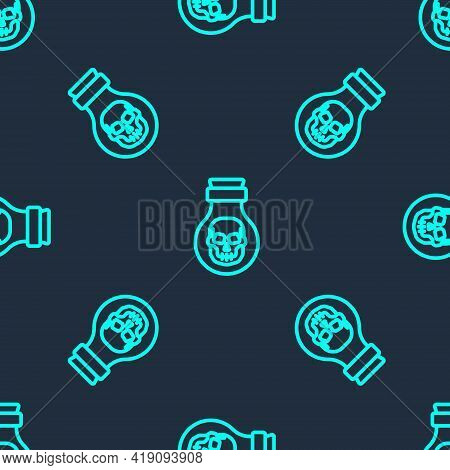 Green Line Poison In Bottle Icon Isolated Seamless Pattern On Blue Background. Bottle Of Poison Or P