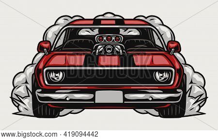 Retro Muscle Car With Smoke In Vintage Style Isolated Vector Illustration