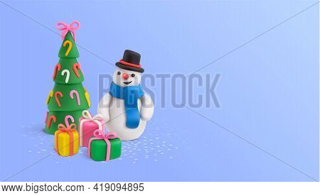 Christmas Plasticine Realistic Composition With Figures Of Decorated New Year Tree Snowman Character