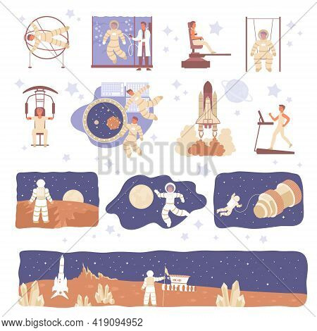 Astronaut Set With Flat Icons Of Spacecraft Characters Of Astronaut In Space Suit With Stars Planets