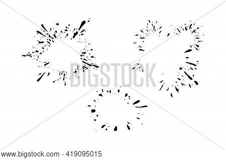 Dynamic Splashing Stain Frames. Set Of Dropping Stains Of Some Liquid. Vector Illustration Isolated